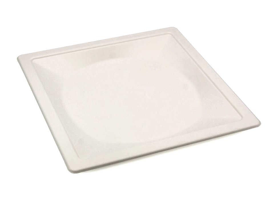 Тарелка из сахарного тростника, белая, ширина 260 мм