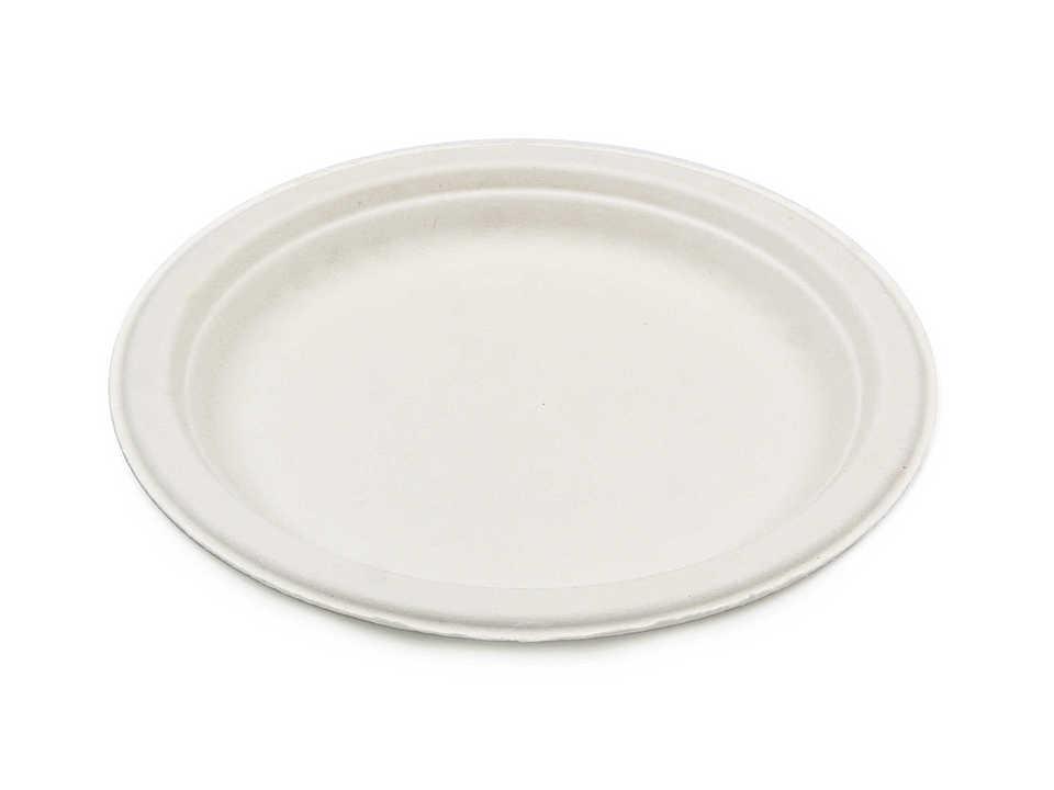 Тарелка из сахарного тростника, белая, диаметр 180 мм