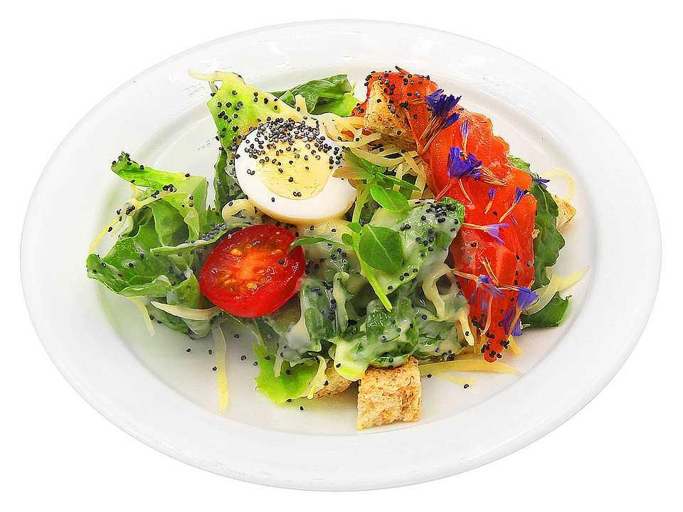 Салатный микс,, сёмга, сыр пармезан, яйцо перепелиное, томаты, гренки пшеничные (мука пшеничная хлебопекарная в/с, вода, сахар, масло растительное, улучшитель хлебопекарный (эмульгатор (моно- и диглицериды жирных кислот), консервант – пропионат кальция, мука пшеничная хлебопекарная, мука соевая, ферменты, антиокислитель – кислота аскорбиновая, спирт пищевой, соль, клейковина пшеничная сухая, дрожжи), соус «айоли» (масло растительное, яйцо куриное, лимонный концентрат (вода, лимонный сок, регулятор кислотности - лимонная кислота, ароматизатор натуральный, антиокислитель - аскорбиновая кислота, консервант - сорбат калия), соль, сахар, горчица, сыворотка молочная сухая, уксус натуральный, мёд, крахмал кукурузный, загуститель камедь ксантановая, паприка, регулятор кислотности - кислота лимонная, экстракт зеленого чая), апельсин свежий, базилик свежий, мак кондитерский, соль, сахар, перец, специи.