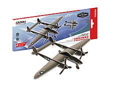 """Истребитель П-38 - представитель серии «Воздушные легенды», историческая модель-копия американского тяжёлого истребителя военно-воздушных сил США времён Второй Мировой войны. Конструктор: Кларенс """"Келли"""" Джонсон. Масштаб 1:50.  Все детали 3D конструктора легко вынимаются из карточек и соединяются между собой.  Внутри вы найдёте набор эксклюзивных наклеек, которые превратят модель в копию реальной боевой машины.  Модель можно подвесить на тонкой леске за специально предусмотренное отверстие."""