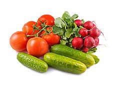 Набор свежих овощей и зелени