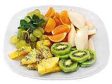 Виноград, апельсин, груша, киви, ананас, мак кондитерский, мята, блестки пищевые